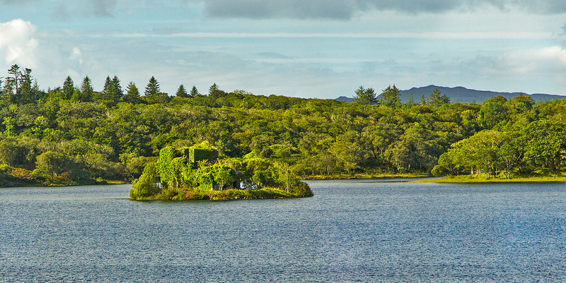 As we head out for our day's tour we see the O'Flaherty Castle sitting on a tiny island in Ballynahinch Lake.