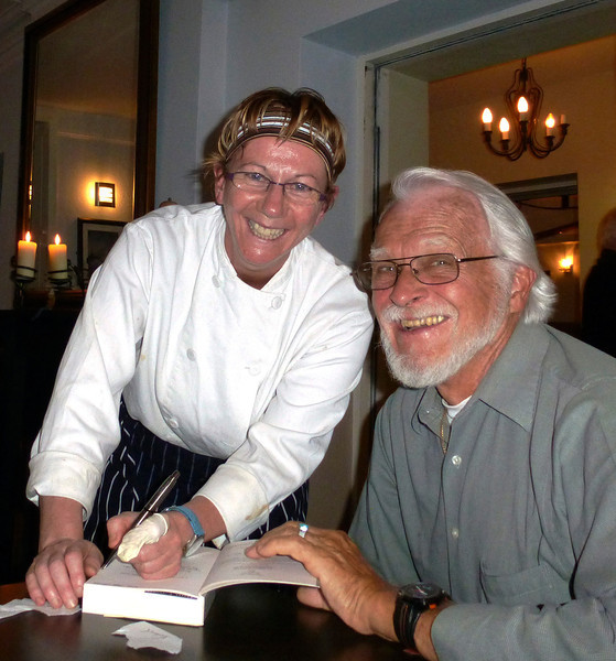 "After dinner Tom Crean's granddaughter, Aileen Crean Obrien d'Arcy (the restaurant's owner and and chef), kindly signs my copy of the book, ""An Unsung Hero."" Written by Michael Smith and published in 2000 by Collins Press, it provides an excellent account of her grandfather's story."