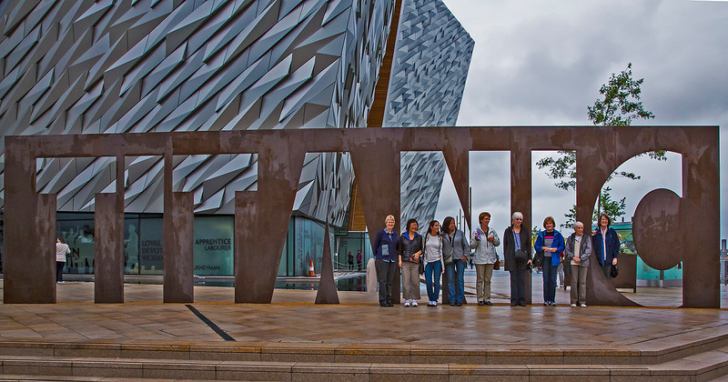 Our group prior to entering the Titanic Museum in Belfast, Northern Ireland.