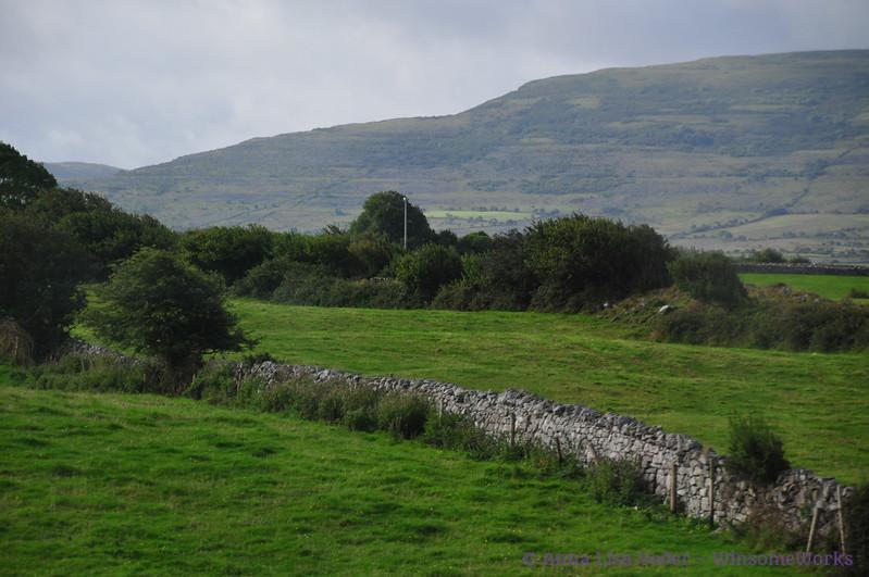 Typical ancient stone fence near West coast of Ireland