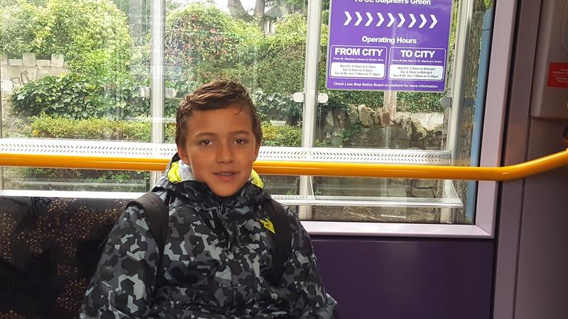 Riding the train in Dublin