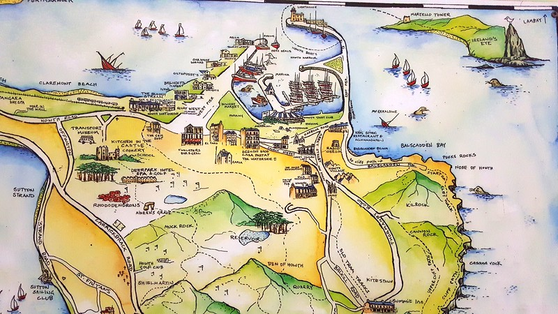Map of the Howth Peninsula showing Cliff Walk (at far right) where we took a fantastic walk
