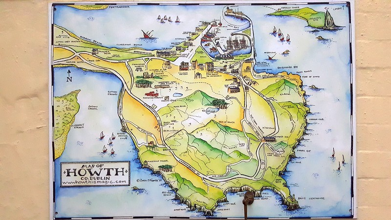 Map of the Howth Peninsula, showing Cliff Walk (at far right) where we took a fantastic walk