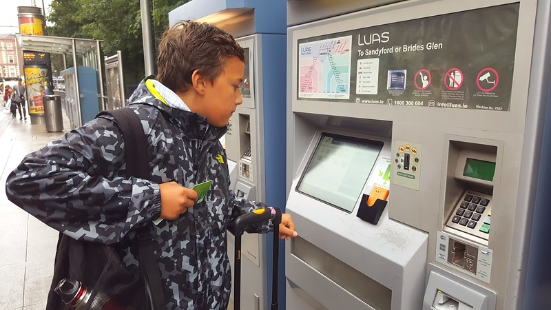 Buying Luas tram tickets -Dublin