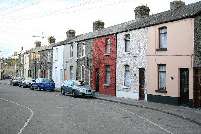 Row of colourful homes.