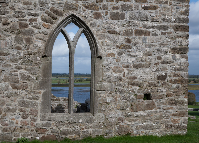 View of the River Shannon through Clonmacnoise ruin, Co. Offaly