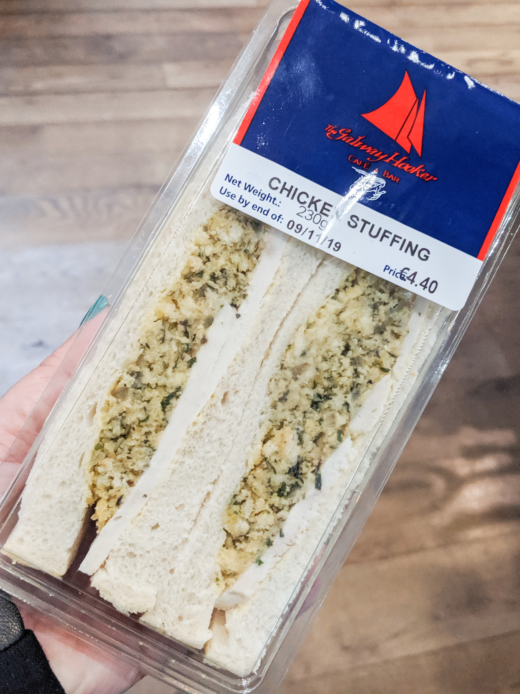 Chicken and stuffing sandwich sold at a grocery store is a popular Dublin food.