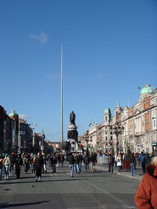 The Spire of Dublin behind the statue of Daniel O'Connell on O'Connell street, Dublin