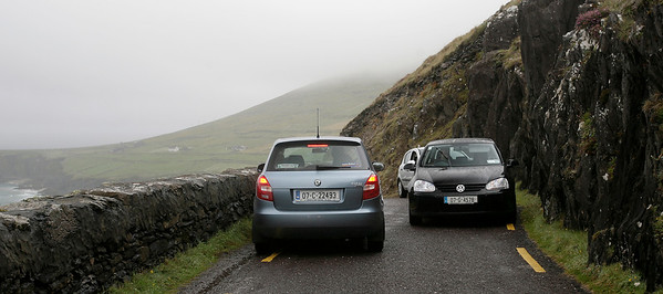 Traffic jam near Slea Head, Dingle peninsula, County Kerry, Ireland.