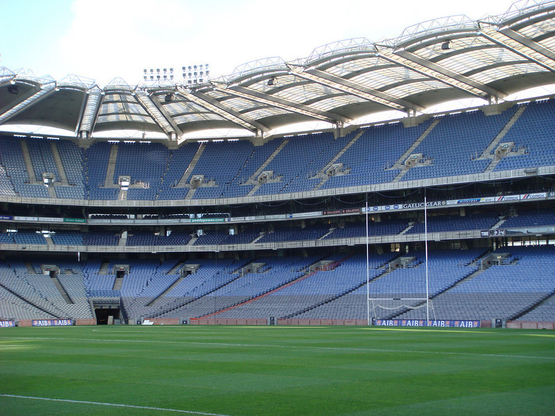 """We took a tour of <a href=""""http://www.crokepark.ie/"""">Croke Park</a>, the fourth-largest stadium in Europe.  It's the headquarters of the <a href=""""http://www.gaa.ie/"""">Gaelic Athletic Association</a> and is used primarily for <a href=""""http://en.wikipedia.org/wiki/Hurling"""">hurling</a> and <a href=""""http://en.wikipedia.org/wiki/Gaelic_football"""">Gaelic football</a>."""