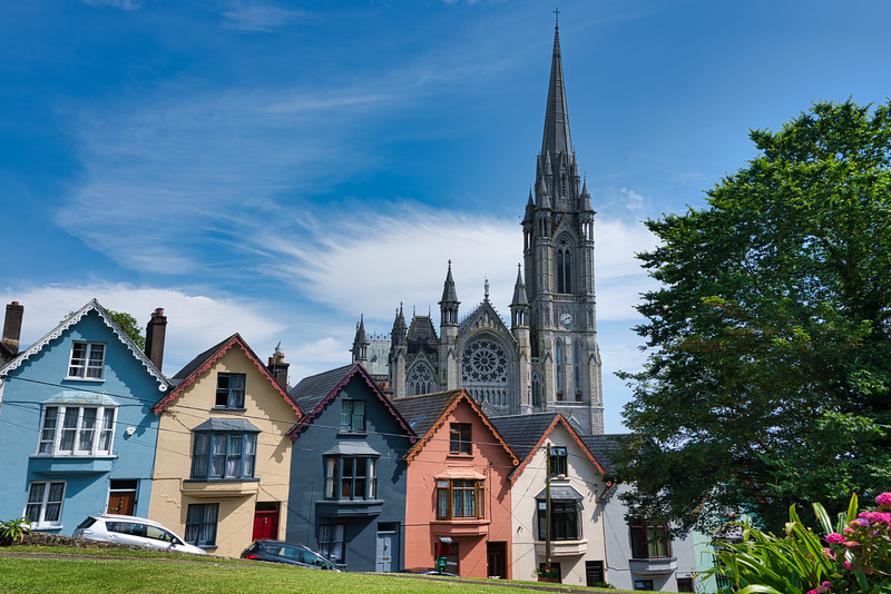 Row Houses and St. Coleman's Cathedral, Cobh, County Cork