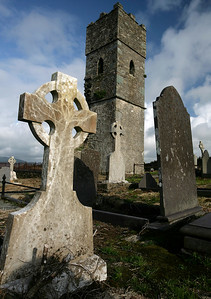 Grave markers and church ruins, Valencia Island, County Kerry, Ireland
