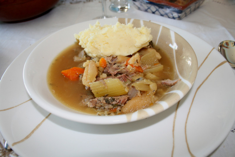This is a traditional Irish stew with lamb and mashed potatoes that my cousin made. It was AMAZING. I believe I had 3 bowls....
