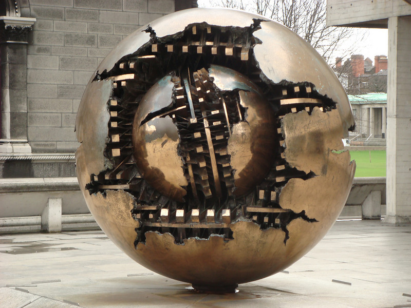 Sculpture outside the library at Trinity College