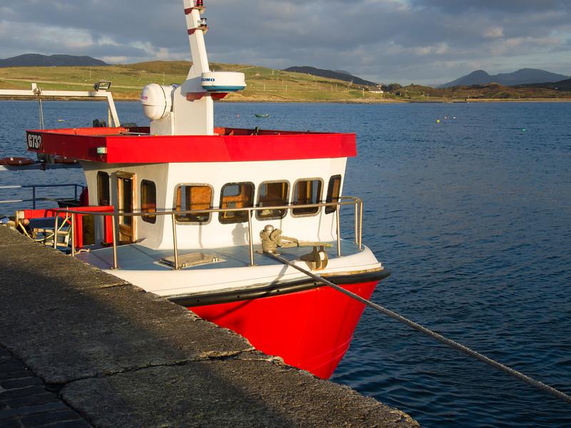 Boat tied up at Cleggan Pier, Connemara Galway