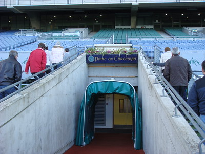 Note the Irish-language name of the stadium, Páirc an Chrócaigh, above this entrance.