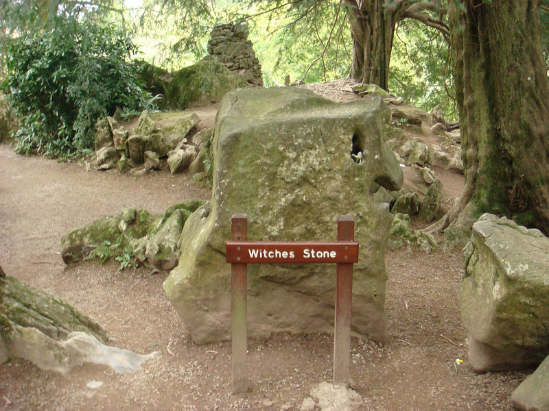 Witch's stone in the Rock Close.  The witch who lives in the close is entrapped in this rock during the day, and only comes out at night.