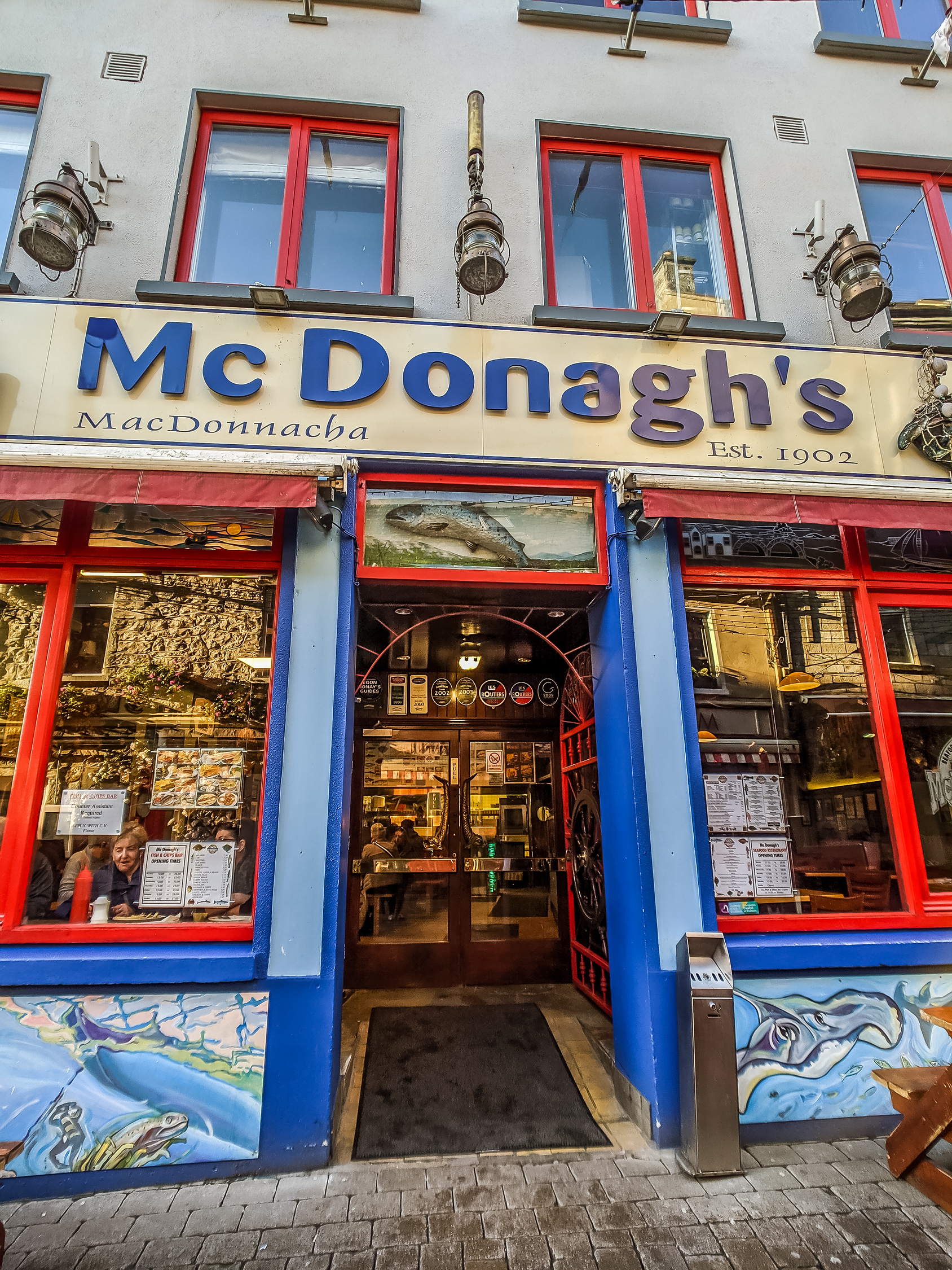 McDonagh's exterior, it is considered to be one of the best seafood restaurants in Galway Ireland.