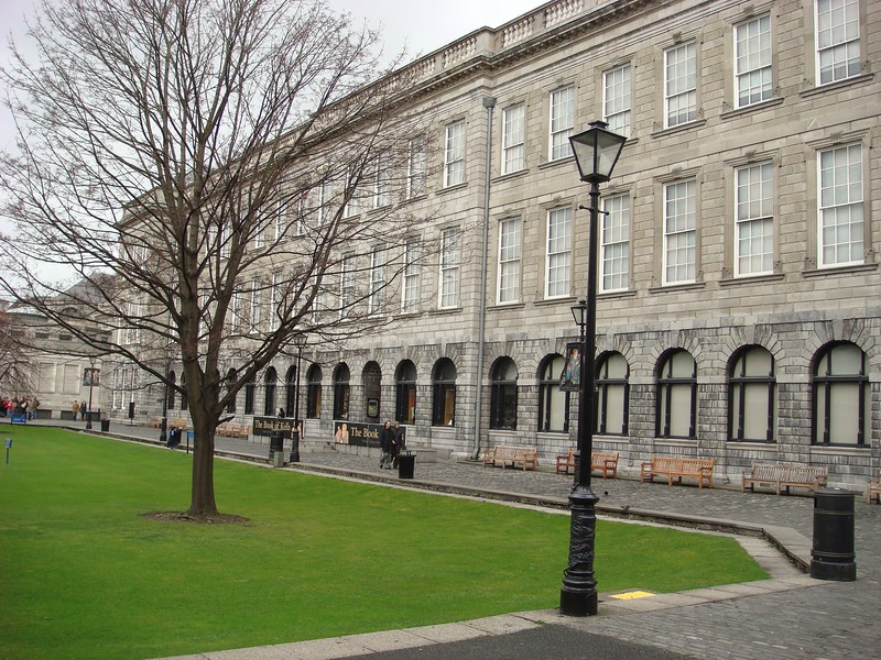 "The old library at Trinity College.  In here is the <a href=""http://en.wikipedia.org/wiki/Book_of_Kells"">Book of Kells</a>, a beautifully illuminated manuscript of the gospels which dates to about 800 AD.  There's a very nice and extensive exhibit about the Book of Kells as well.  The tour also includes the Long Room, a very long, two-story tall room with the Library's rare book collection.  No pictures were allowed during the tour, but here's a <a href=""http://images.google.com/images?q=%22long+room%22+%22trinity+college%22"">Google Image search for the room</a>, so you can get an idea of it.  But pictures can't fully convey the size of the room.  When I first stepped in the room I had to just stop and take it all in, probably with my mouth hanging open, for a minute or two before I could go on and actually look at the items on display."