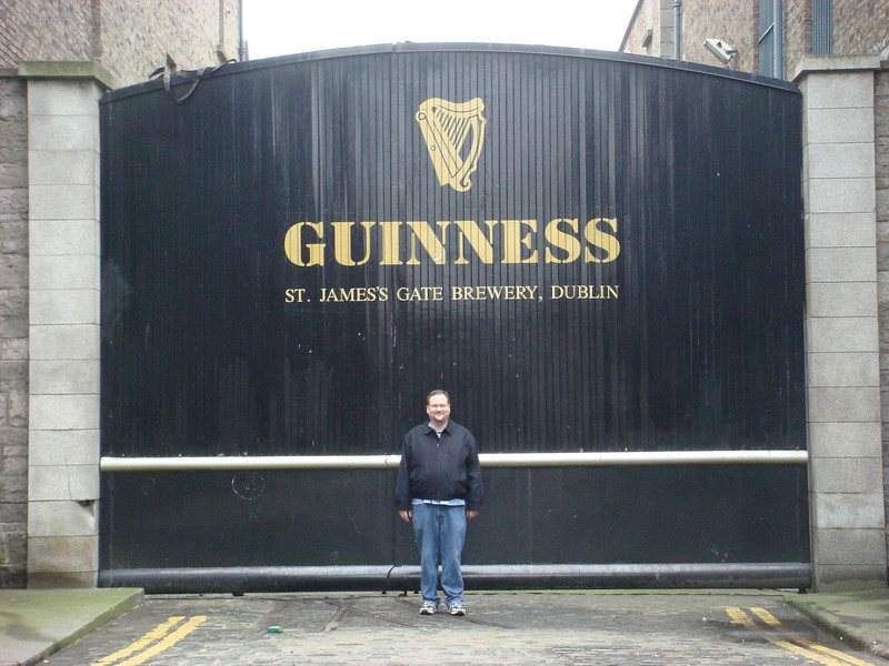 Me in front of the iconic gate at the Guiness brewery