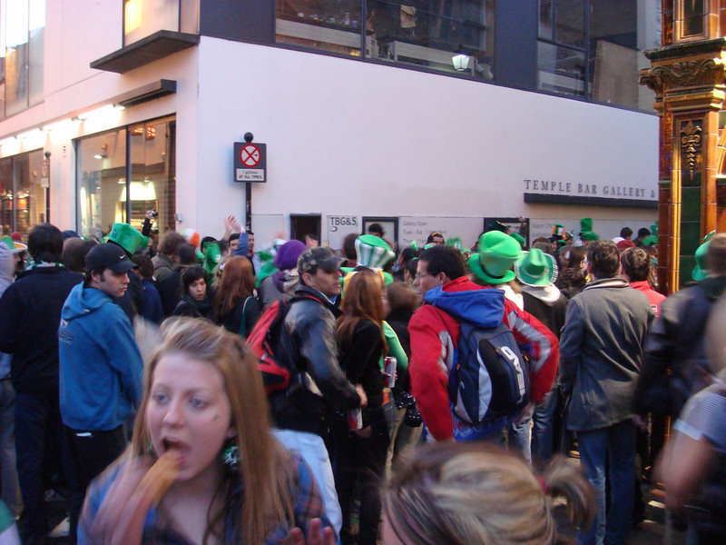 "<a href=""http://en.wikipedia.org/wiki/Temple_Bar,_Dublin"">Temple Bar</a> area the evening of St. Patrick's day.  Note that it's still fairly early as it's still light out."
