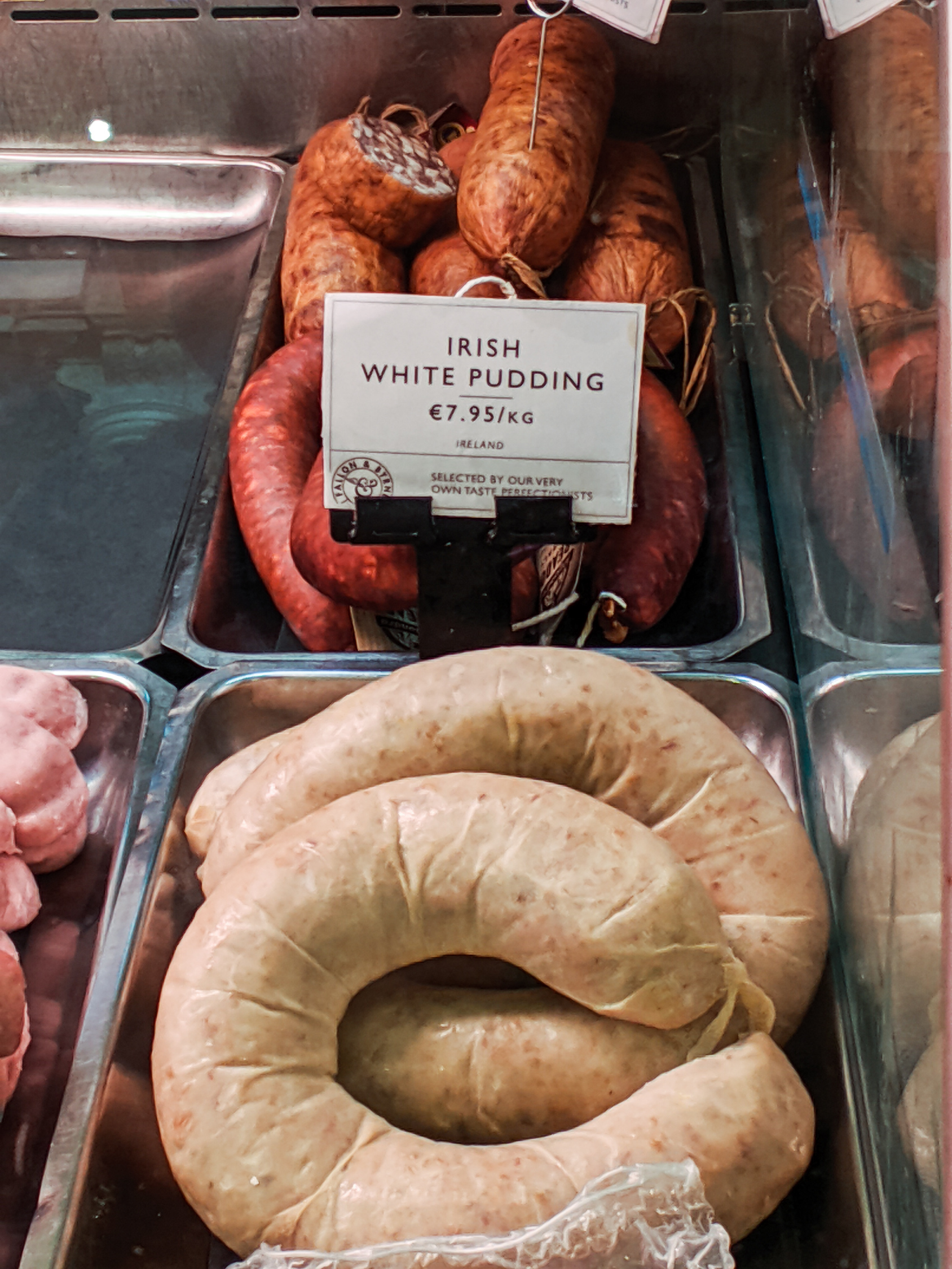 White Sausage on display at Fallon and Byrne in Dublin Ireland