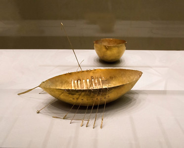 Tiny Gold Boat, National Museum, Dublin.  Thought to have been an offering to the sea god Manannan mac Lir in the first century BC.