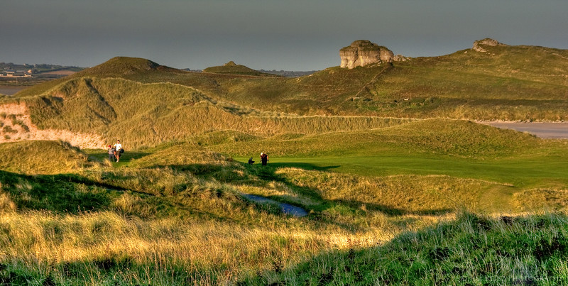 Rock outcroppings behind the 15th hole at Tralee.