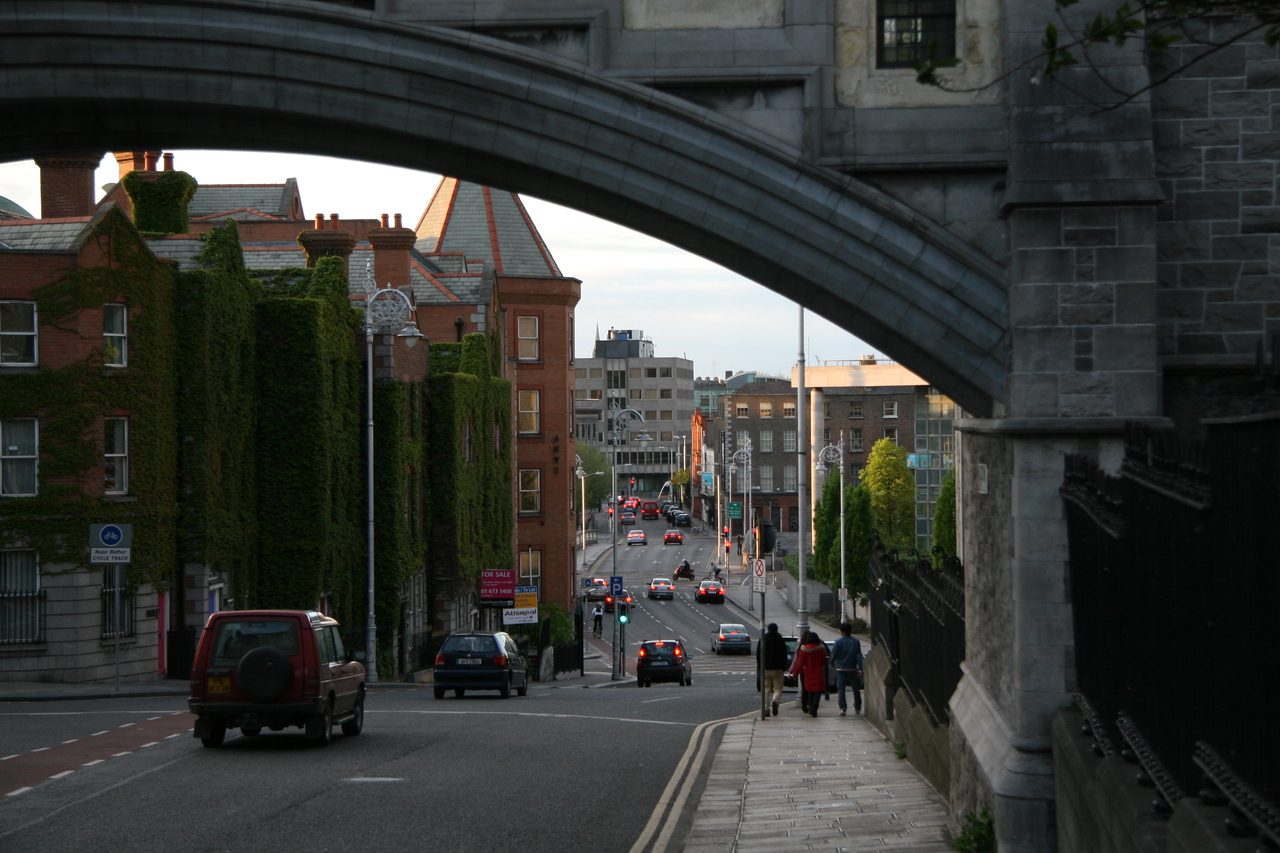 Looking through an arch down Winetavern Street next to Christ Church Cathedral.