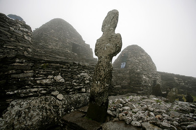 Grave marker atop Skellig Michael (Great Skellig) near Portmagee, County Kerry, Ireland