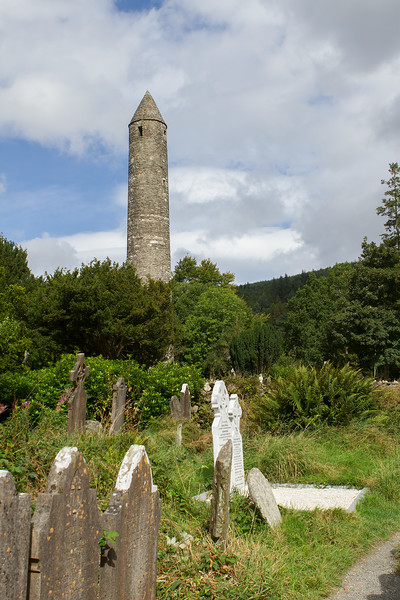 The round tower above the grave stones