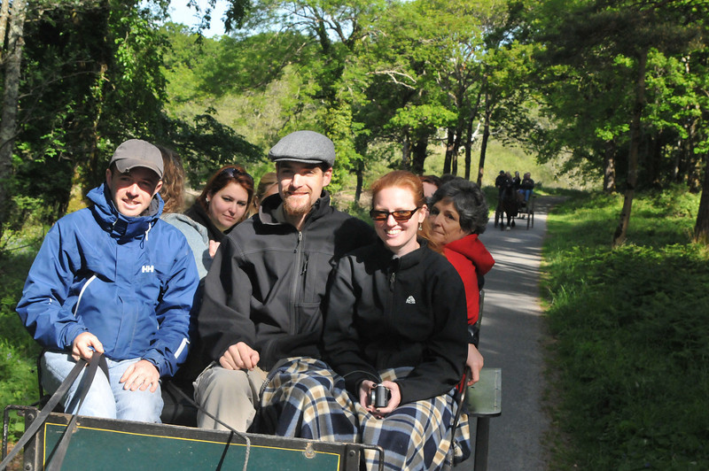Some of our friends from the trip on their cart ride.
