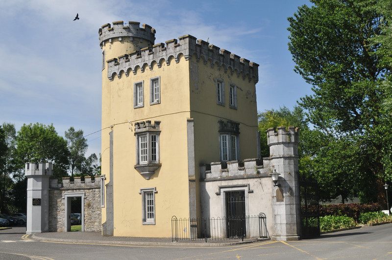 """Contemporary """"castle-esque"""" architecture.  This was a gate surrounding a large private institution."""