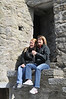 The girls on the ledge at Ross Castle in Killarney National Park.