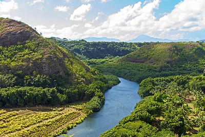 Looking down into Wailua River Valley on east side of Kauai