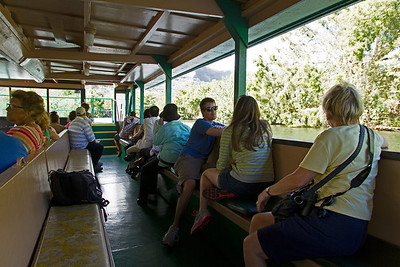 We're on our way to the Fern Grotto on a barge on the Wailua River
