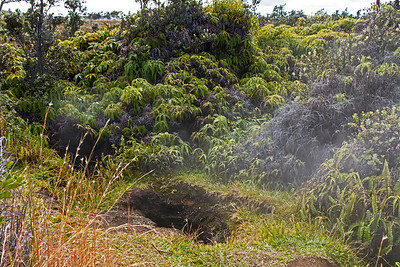 Steam evaporates from large holes in the ground along the 'Iliafi Trail