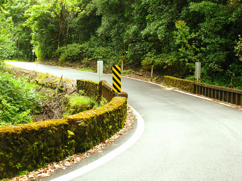 The Road to Hana is very curvy and slim at the bridge crossings.