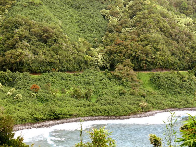 The Road to Hana as it hugs the coastal cliffs.