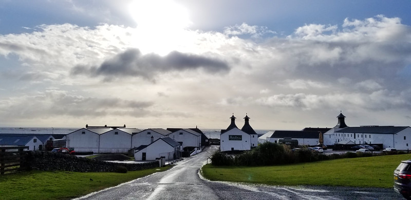 Looking down the road at the Ardbeg distillery.