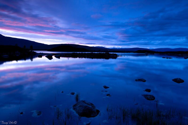 Sunset, Loch nah-Achlaise, Bridge of Orchie, Scotland