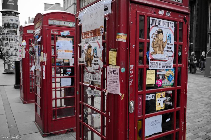 Telephone, booth, Edinburgh, Scotland