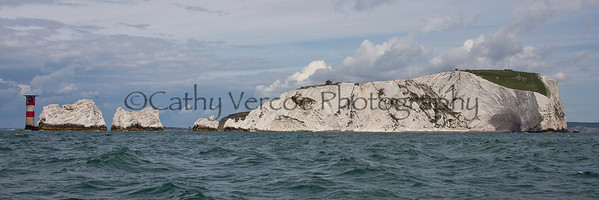 A wide image of the needles on the south western tip of the Isle of Wight - taken from the south side of the Island