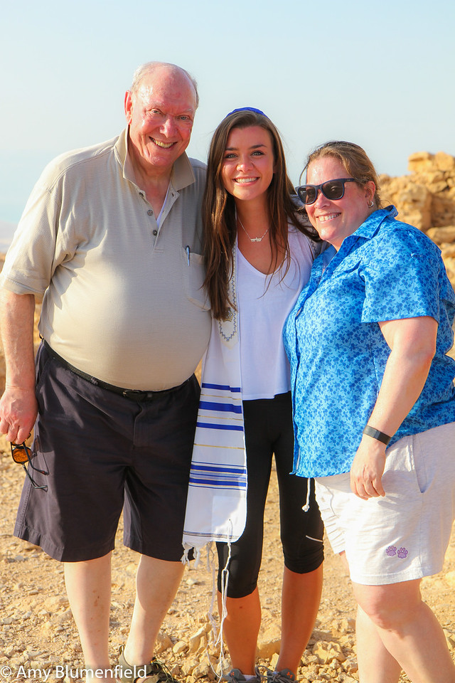 Dad, Elyssa, Amy bat mitzvah at Masada