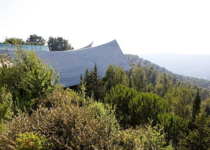 The Holocaust memorial in West Jerusalem, Yad Vashem, ends at a dramatic opening seen here.