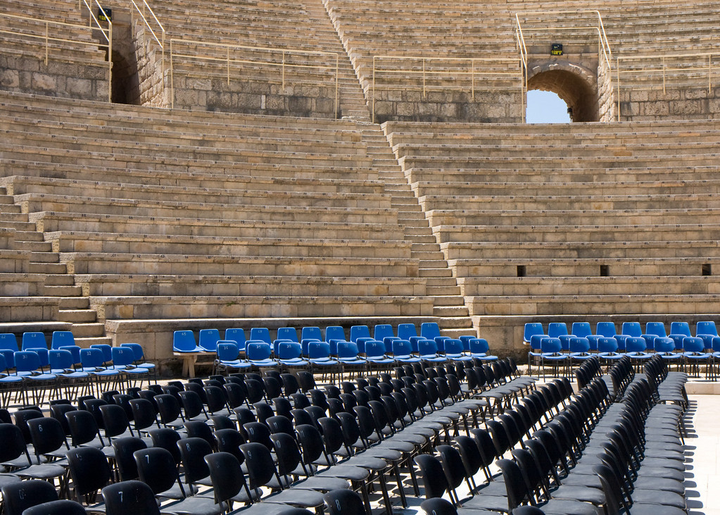 The Roman amphitheater at Ceasaria is very well preserved, and used now for concerts