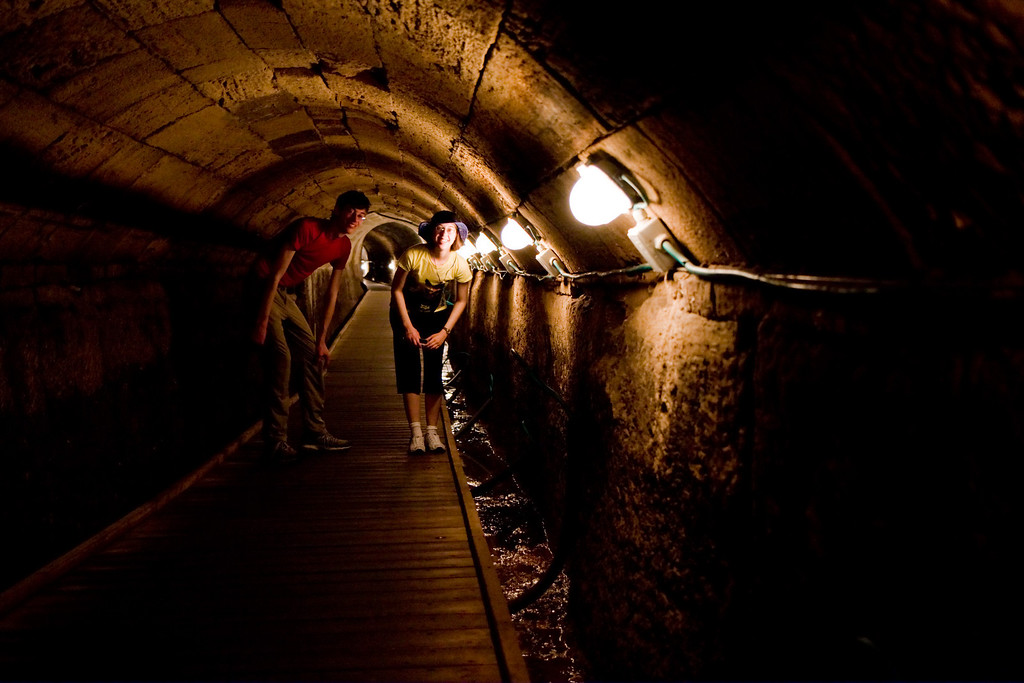 The crusaders built a long tunnel under the city.
