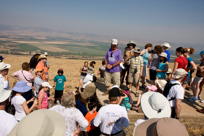 A driver shows us the heights from where the Syrians used to shell the Israeli villages in the valley below
