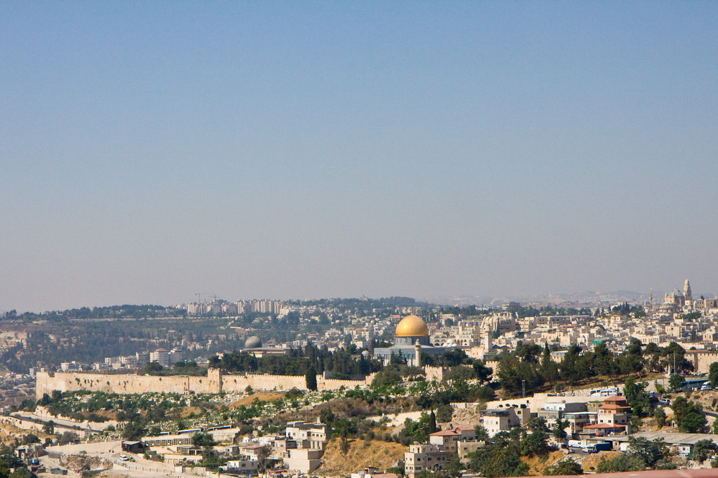 The old city, with the Dome of the Rock on the old Temple mount, surrounded by the walls built by Herod for the Temple mount