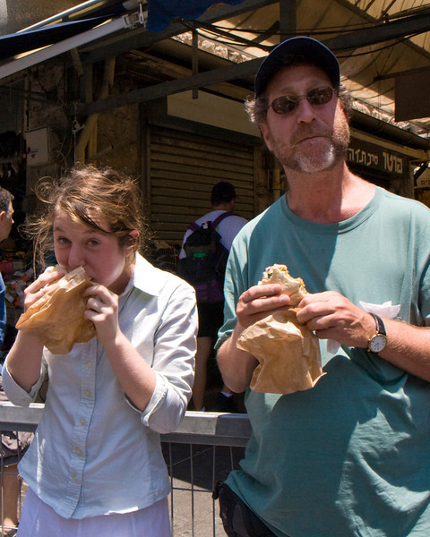 Peter and Alison savor their felafel